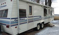 We are selling our 28 ft Coachman travel trailer, only weighs 4531 lbs, its sleeps 6, has air on those hot summer nights. It's has a nice big living room, kitchen, bathroom with shower, a bedroom in t