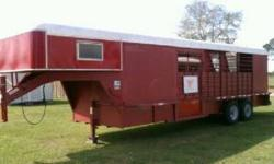 1993 Gooseneck 4 horse slant horse trailer, steel, 7' wide and 24' long. Has new floor, new mats, been rewired and reinsulated in the sleeping area, new paneling that needs to be installed. Window uni