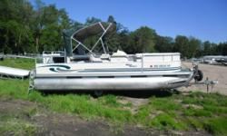 Up for Auction: 1999 Misty Harbor 2020 Pontoon with Honda Four Stroke. This pontoon comes to us after being submerged. There is no trailer included with this sale. The front rub rail is scratched on t