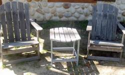 2 Adirondack Heavy Duty Folding Wood Chairs w/ Sliding Foot StoolPair of heavy duty treated folding wood Adirondack chairs, sold as a set. These are very hard to find made this sturdy and fold up for