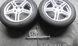 "(2) Bridgestone Blizzak Mounted Studless Snow Tires On ""Sport Edition"" Wheels, Balanced, 235/50R17Minimum of 7/32 Tread Remaining-Used Sparingly The Past 4 WintersExtra Set Of Ten 21 Millimeter Lug Nu"
