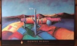 """Two framed Downe Burns prints for sale! """"Santa Fe Saquaro"""" """"Valley of the Brilliant Colors"""" Each is approximately 38""""x 28"""". They are in matching black frames with plexiglass and ready to hang on the w"""