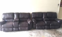 Selling two sets of Love Seat Recliners. It's leather and has a center console with 2 cup holders. Both sets are 9 out 10. Owned just over a year now. If you apply leather conditioner it would look ev