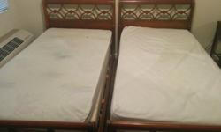 http://losangeles.craigslist.org/wst/fuo/4658930477.htmlMahogany Wood Twin Beds. Features 2 twin bed frames, 2 twin mattresses, 2 box springs, and support slats. Twin bed mattress measurements are 38