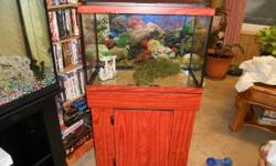 """20 Gallon Aquarium for sale for $75.00. Has ornaments, stand, Heater, 24"""" flourescent hood and a Aqua Clear 50 Power filter. All you need to do is wash everything with clean water and set it up and it"""