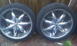 I HAVE A SET OF 20 INCH CHROME DEEP DISH RIMS WITH TIRES @ 30% THREAD ON THEM 4 SALE. THEY ARE 5 LUG UNIVERSAL & JUST CAME OF MY 2002 CHEVY IMPALA. THEY DO HAVE VERY LITTLE ROAD RASH ON EM BUT RUNS &