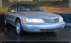 2000 Lincoln Continental Light Parchment Gold Clearcoat Metallic 4.6L V8 SMPI Superstition Springs Lexus proudly serving the following communities Mesa, Phoenix, Scottsdale, Tempe, Chandler, Gilbert,