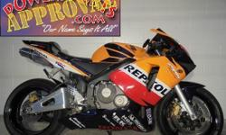 2003 Honda CBR600RR Repsol Replica Crotch Rocket for sale $3,999! Sharp bike, Fender Eliminator kit, Flushmount front turn signals and the Jardine exhaust makes this Repsol 600RR sound as cool as it l