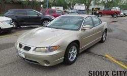 2003 Pontiac Grand Prix GT 4Dr Sedan. 3800 V6 Engine, Automatic Transmission, Air Conditioning, Power Windows, Power Door Locks & Mirrors. Tilt Steering Wheel, Cruise Control, AM/FM Stereo w/CD, A