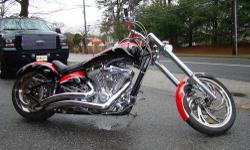 The American IronHorse Outlaw is a timeless classic, a high-performance softail custom that offers great looks, great performance and a great ride. It is Red and Black with a Silver Tribal pattern, ha