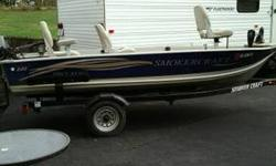 2005 Smoker Craft pro mag 140 boat for sale. The boat comes with a Nissan 9.8 electric start motor, has been recently serviced, and a Minnkota trolling motor, 40lb thrust. Also has a storage box and a