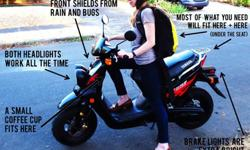 49 cc is the perfect amount of oomph to get around town and enjoy the sights. This scooter is just right for commuting to and from work and school or running errands and hanging out in the city. And,