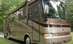 Model 38PDQ with 4 Slide-Outs. Nicely equipped and in excellent condition. Built on a Roadmaster Chassis with 8 air bags, powered by a Cummins ISC 330 hp turbo diesel, Allison 6 spd. auto trans, 53,69