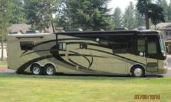 This beautiful motorhome has it all! Spartan chassis tag axle, Cummins 360hp rear diesel engine with 1050lbs of torque!! 10,000lb hitch, 6 speed Allison transmission. Hydraulic auto leveling, 4 slides