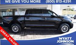The Tundra is well suited for the task at hand. Feel totally at home in the driver's seat. It is nicely equipped with features such as * LEATHER *, 4WD, and i-Force 5.7L V8 DOHC. Designated by Consumer Guide as a 2011 Recommended Large Pickup.  Options: