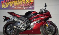 2011 Yamaha R6 Crotch Rocket for sale only $149 per month! Sharp bike! Electric red with Raven black paint, frame sliders, Flushmount front blinkers and the Graves exhaust makes this R6 sound as cool