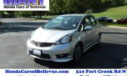 Honda Cars Of Bellevue is excited to offer this 2013 Honda Fit. Drive home in your new pre-owned vehicle with the confidence of knowing you're fully backed by the CARFAX Buyback Guarantee. This is a w