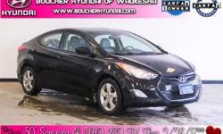 Clean CARFAX. Black Diamond 2013 Hyundai Elantra GLS CARFAX One-Owner. Heated Seats, Bluetooth, iPod Input, SiriusXM Radio, 60/40 Split Fold-Down Rear Seatback, ABS w/Electronic Brake Force Distributi
