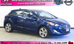 Recent Arrival! New Price! Clean CARFAX. Atlantic Blue Pearl 2013 Hyundai Elantra GT CARFAX One-Owner. Heated Leather Seats, Panoramic Sunroof, Navigation, Backup Camera, Bluetooth, Proximity Key with