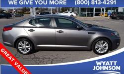 Thank you for taking the time to look at this attractive-looking 2013 Kia Optima. This Optima is nicely equipped with features such as Alloy wheels. Feature content a-plenty.  Options:  6 Speakers|Am/