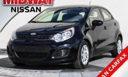 2013 Kia Rio LX Aurora Black 1.6L I4 DGI 16VClean CARFAX. MP3 PLAYER, AUTOMATIC TRANSMISSION, FUEL EFFICIENT, KEYLESS ENTRY, POWER WINDOWS, POWER DOOR LOCKS, BLUETOOTH, Beige w/Knit Cloth Seat Trim, 1
