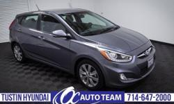 Super clean Certified Pre-Owned 2014 Hyundai Accent SE Hatchback. Keyless Entry, Bluetooth, Satellite Radio, Alloy Wheels, Automatic, One Owner, accident-free history. Tustin Hyundai is a family-owned & operated dealership located in the heart of Orange