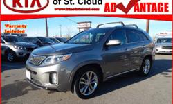 Options:  2014 Kia Sorento Sx|Awd Sx 4Dr Suv|3.3L|6 Cylinder|Fuel Injected|Automatic Awd|Titanium Silver|Power Door Locks|Power Windows|Power Drivers Seat W/Memory|Auxiliary Audio Input|Ipod Hook-Up|S