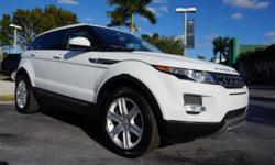 This 2014 Land Rover Range Rover Evoque is featured in Fuji White Optional equipment includes: Navigation, Satellite & HD Radio  [025LA]  (Orig. $750), Climate Comfort Package  [072AZ]  (Orig. $1,300)   Includes Heated Front Windshield, Heated Steering