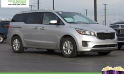 This 2015 Kia Sedona LX will sell fast -Backup Camera -Bluetooth -3rd Row Seating -Aux. Audio Input ABS Brakes -Power Seat -Automatic Headlights -AM/FM Radio -Rear Bucket Seats -Parking Sensors Based