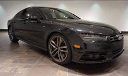 This 2016 Audi  S7 4.0T is featured in Black with an all Black Leather interior accented by White contrast quilted stitching and CARBON FIBER trim.  Options: 20' BLACK OPTIC PACKAGE (20' Black Optic W