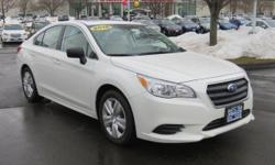ONE OWNER, CLEAN CARFAX, and WHY BUY NEW?. CVT Lineartronic, Crystal White Pearl, and Cloth. Don't wait another minute!Extremely clean 2016 Subaru Legacy, garage-kept appearance, with a 2.5L 4-Cylinde