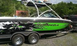 Please call owner Dan at . Boat is in Castleton, Vermont. Moomba Mobius LSV. Custom Matching Paint tandem axle trailer with swing away tongue, guide poles with covers, surge brakes. Option