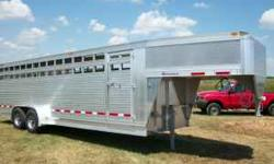 2011 EBY MAVERICK ALUMINUM STOCK TRAILER, ONLY USED 2 MONTHS, 24 X 6'11, 2 CENTER GATES, SLIDE SWING REAR GATE, ESCAPE DOOR, 7K TORSION AXLES, SAVE $1000 OFF THE PRICE OF A NEW 2012 MODEL WHICH IS ALS