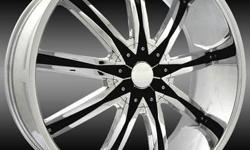 """Super Special 24"""" $1259. you are buing 4 New Wheels in box (FREE) Lugs Brand- D Centi DW-29 Size- 24x9.5 Finish- Chrome Insert Blk/ Insert Offset- +13, +30 Fitments 5- Lug 6- Lug Sizes Rage From 20"""","""