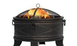 Add warmth and elegance to your outdoor entertaining with this 26 in. Quadripod Fire Pit. Perfectly suited for your deck, patio or other backyard spaces, this uniquely designed piece has an antique br