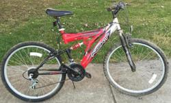 21 speed mountain bike has aluminum frame, front and rear suspension, & excellent tires. Location: Circleville/Lancaster/Canal Winchester. $70.00. call/text 61four-21six-3172. Thanks.