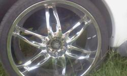 """26"""" 5 lug universal rims with tires and locks. Tires are in very good condition. Rims have no curb marks. 295/30/26"""