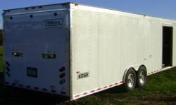 2006 Haulmark Enclosed Trailer 28 foot 12,000 GVWR 8 lug alum wheels Load Range E Uniroyal tires gen compartment 30 amp Edge light package with motor base twist lock plug, wired for AC, switched 12 vo