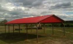 30x60x10 pole barn for $7,900.00, 29 gauge galvalume metal roof, 29 gauge painted metal or wood gables,pressure treated 6x6 posts, double 2x12 pressure treated beams, 2x6 pressure treated wind braces,