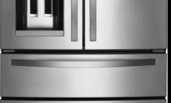 """Brand New 36"""" French Door Refrigerator with 25 cu. ft. Capacity, External Refrigerated Drawer, Accu-Chill Temperature System, and PUR Water Filtration System: Monochromatic Stainless Steel Only $1350"""