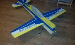 Aircraft is rtf, add you battery, bind, and go. It has eflight 15 motor, has a 60 amp esc. Hextronic milligrams servos. AR500 spektrum rx. Has scuffs on bottom of wing pointer ends but aside from that