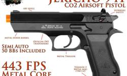 """These are New Officially Licensed by IWI (Isreal Weapon Industries )Jericho 941 """" Baby Eagle """" CO2 Airsoft Pistol by Cybergun. Its extremely efficient non blow back design permits the 941 to fire over"""