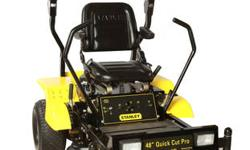 The Stanley 48? Zero Turn Heavy Duty Mower is for the large lot owner that wants dependable equipment at a great value. The powerful 603cc Kawasaki engine provides the power to cut more grass in less