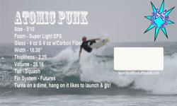 New 5 '10 Atomic Punk, Squash Tail, EPS & Epoxy Surfboard.  New 5 '10 Soul Stix Atomic Punk Squash Tail EPS, Epoxy, Carbon, Futures Atomic Punk 5 '10 x 18.38 x 2.25 Vol 25.16.  Hand Shaped Surfboard,