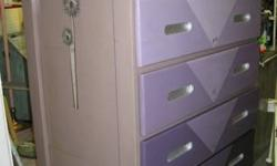 """All Wood w / additional deep drawers - Mocha Tan with differing tones of purple. Chrome accentuates in other places. 451/2"""" H, 20"""" D, 311/2"""" W. WAS $159 - NOW $149.00. This hefty breast is offered for"""