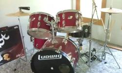 5 piece ludwig drum kit-- great practice set or beginner set !!! it feature a DW 7000 series double bass pedal. Brand name new zildjian ZBT cymbal set 13 in high hats 14 in crash and a 18in crash ride