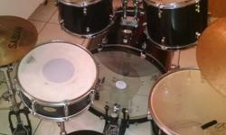 "-5 pieces include snare, 2 hanging toms, floor tom, and bass drum -Includes 20"" Sabian ride w/Pacific boom cymbal stand and 14"" Sabian hi-hats w/Pacific hi-hat stand -Also includes Tama bass drum peda"