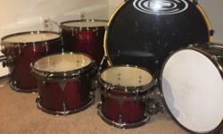 6 piece OCDP Avalon maple shells. Barely used, excellent condition. A few small nicks, not noticeable when set up. Deep red sparkle. Great intermediate/pro kit. Bass: 22x23 Snare: 14.5x6 Toms: 8x10, 1