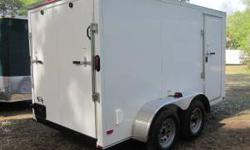 NEW 6x12 enclosed trailers with tandem axel for sale! This is the trailer you need for heavier loads! Rear Ramp door with bottom flap INCLUDED in price! $2399 plus S&H from the factory - 5 year warran