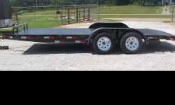 7 x 18 Car Hauler Trailer 4in.channel A-frame tongue subframe wrap two 3500 lb axles,New (205-75-D15) tires Diamond Plate Metal Floor ,middle mount setback jack 5ft ramps that craddle & lock under rea